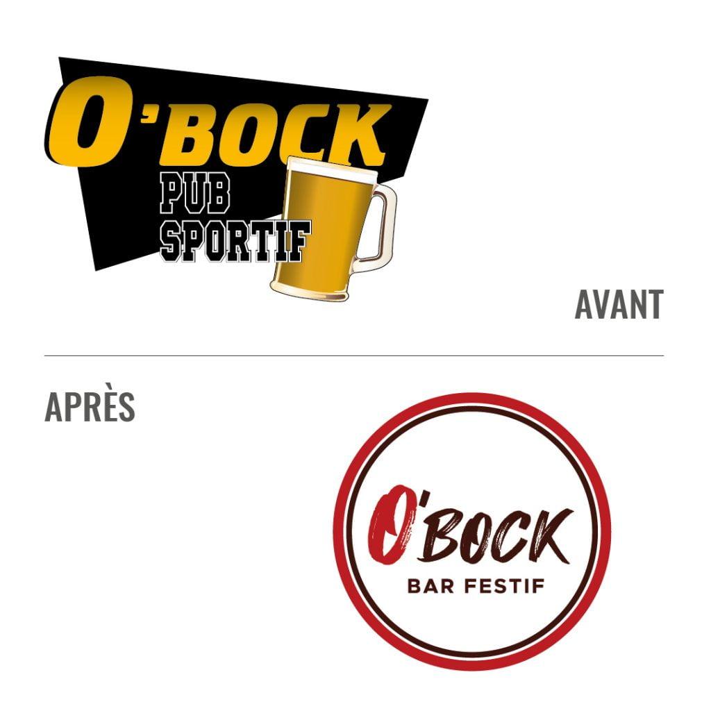 Logo O'Bock avant et après