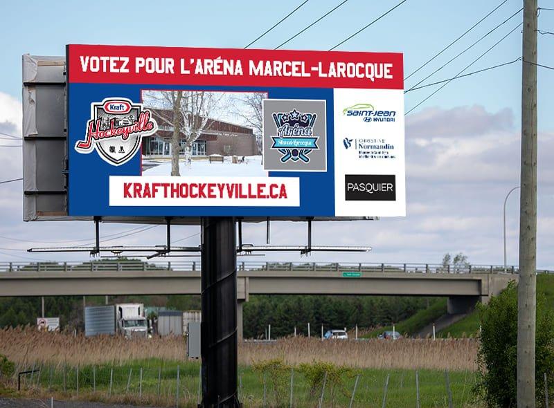 Panneau autoroute Aréna Marcel-Larocque