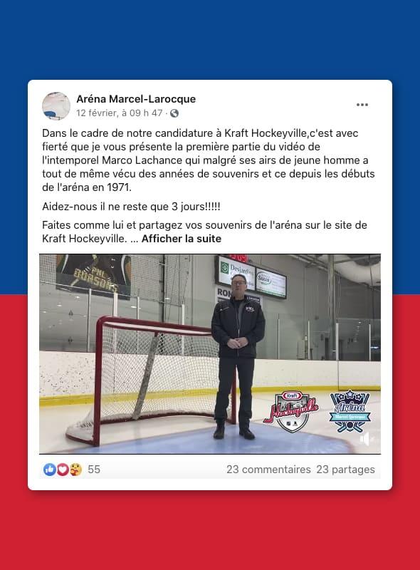 Publication réseaux sociaux Aréna Marcel-Larocque