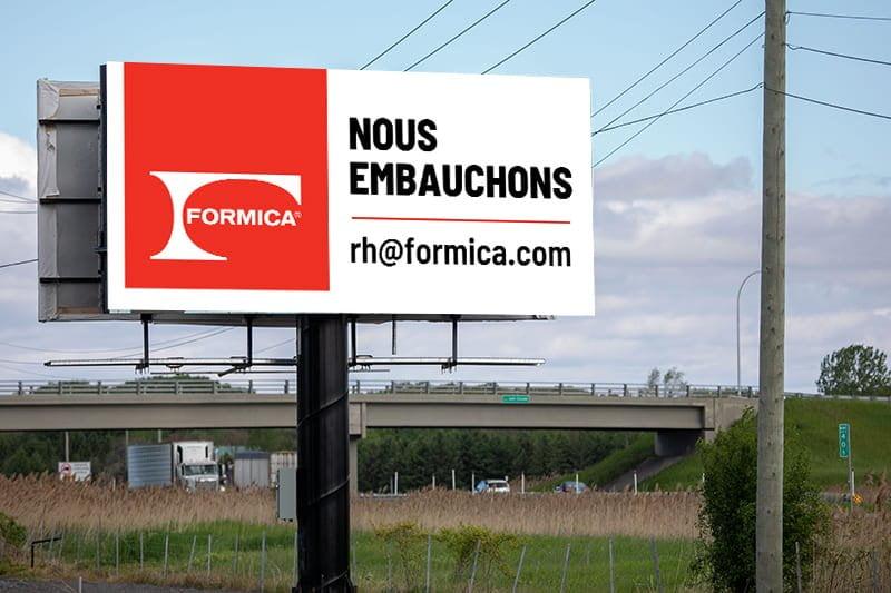 Campagne de recrutement - Formica - Panneau routier